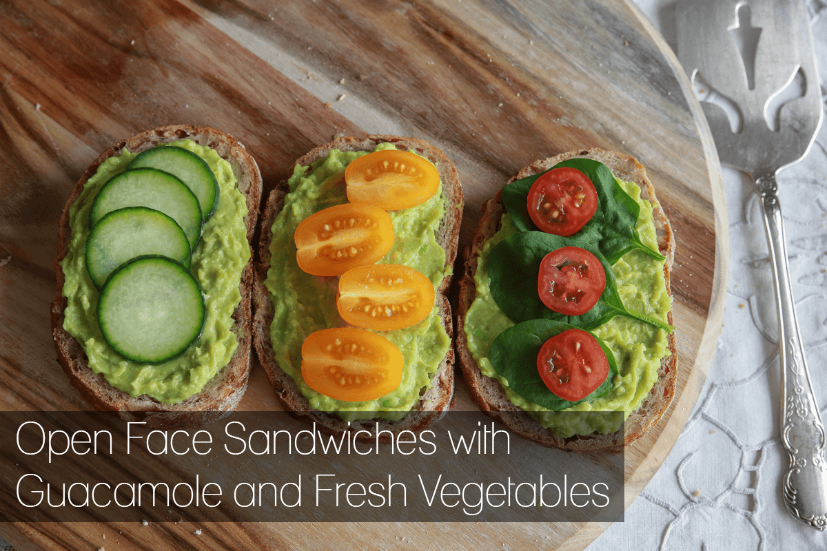 Open Face Sandwiches with Guacamole and Fresh Vegetables