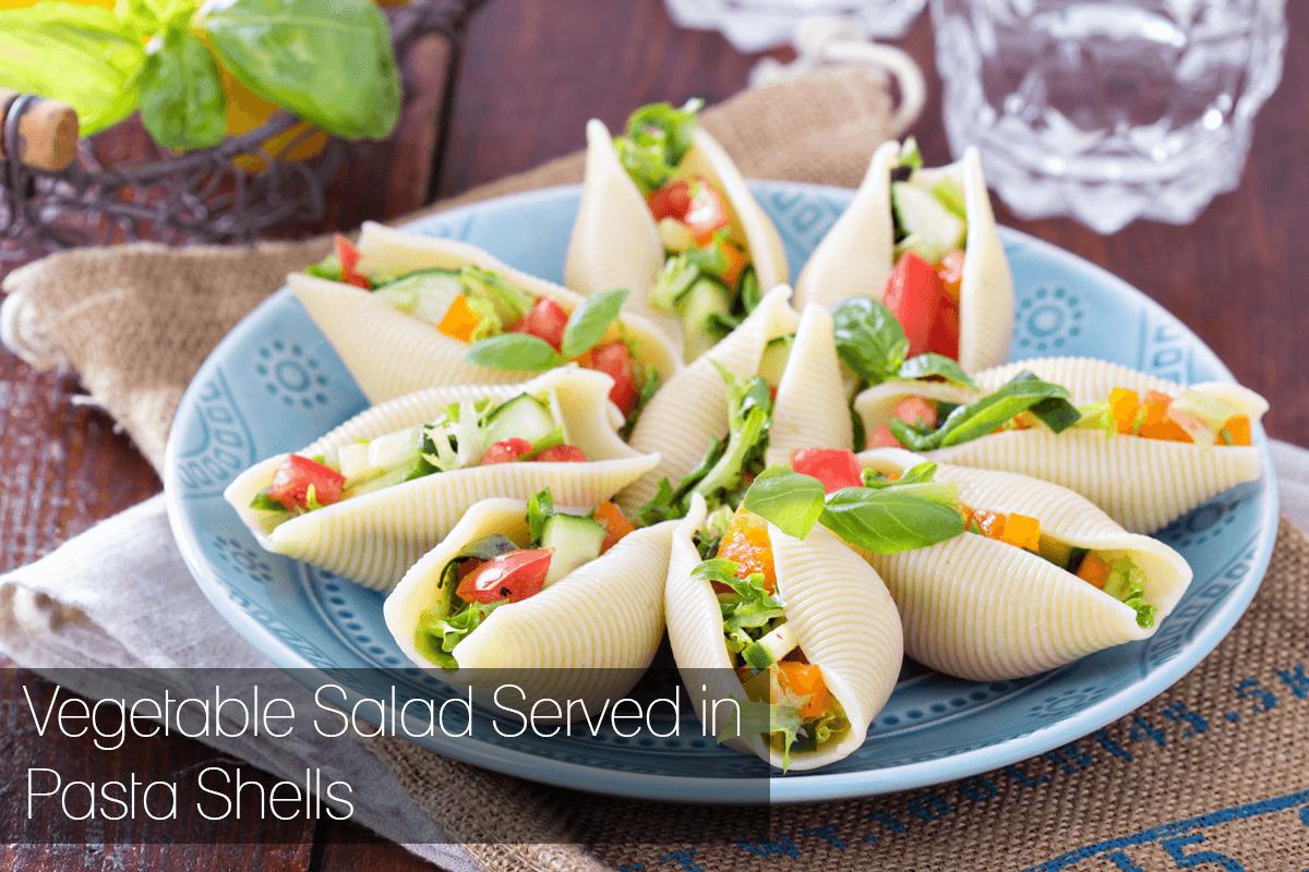 Vegetable Salad Served in Pasta Shells